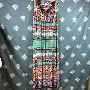 Chico's Multi Print Embellished Maxi Dress